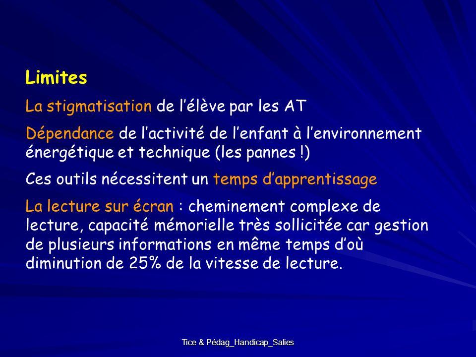 Tice & Pédag_Handicap_Salies Limites La stigmatisation de lélève par les AT Dépendance de lactivité de lenfant à lenvironnement énergétique et techniq