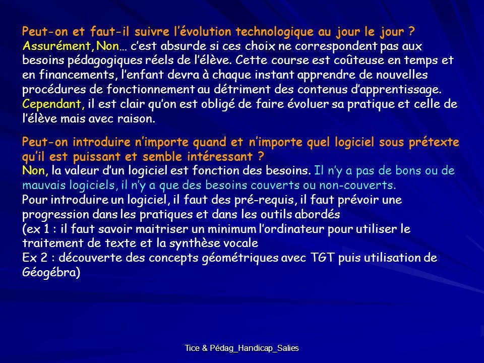 Tice & Pédag_Handicap_Salies Peut-on et faut-il suivre lévolution technologique au jour le jour ? Assurément, Non… cest absurde si ces choix ne corres