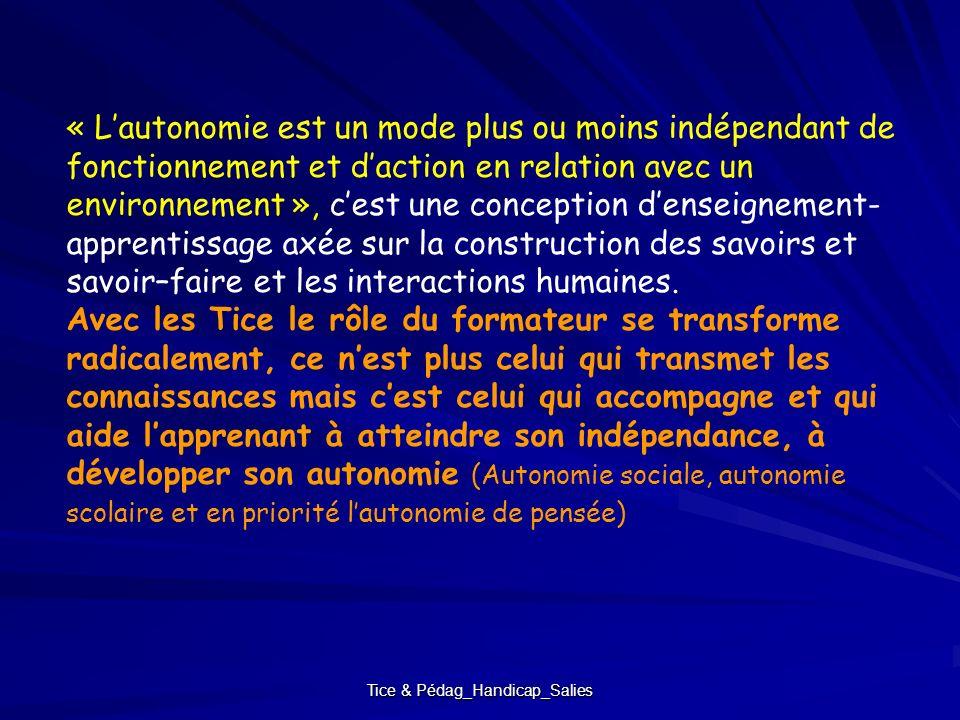 Tice & Pédag_Handicap_Salies « Lautonomie est un mode plus ou moins indépendant de fonctionnement et daction en relation avec un environnement », cest