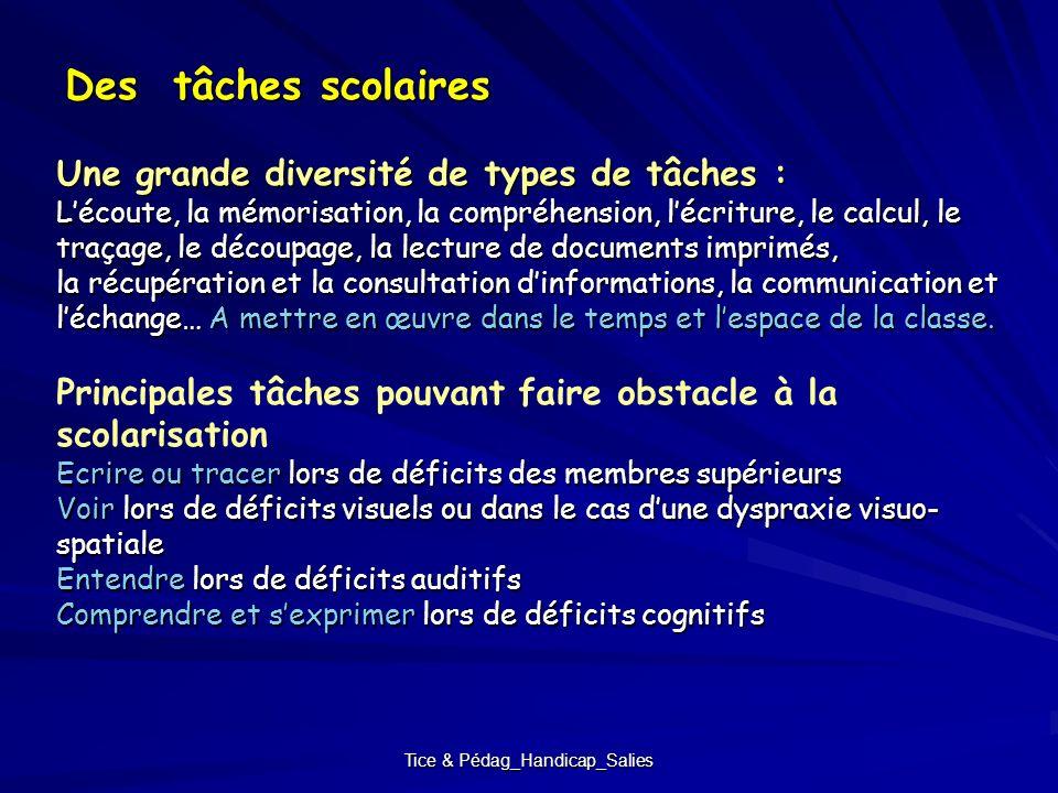 Tice & Pédag_Handicap_Salies Des tâches scolaires Une grande diversité de types de tâches : Lécoute, la mémorisation, la compréhension, lécriture, le