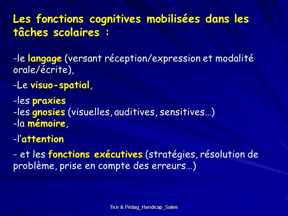 Tice & Pédag_Handicap_Salies Les fonctions cognitives mobilisées dans les tâches scolaires : -le langage (versant réception/expression et modalité ora