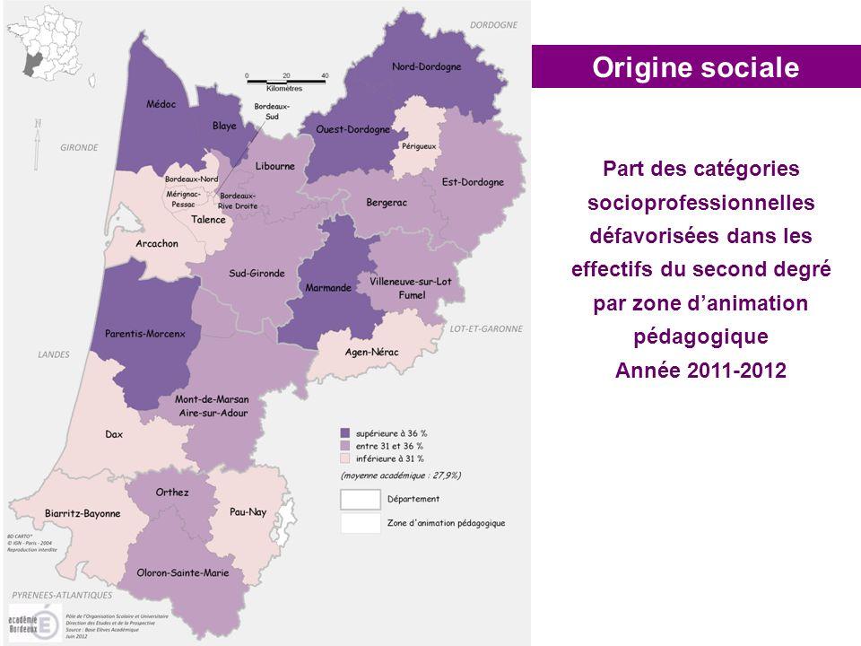 Origine sociale Part des catégories socioprofessionnelles défavorisées dans les effectifs du second degré par zone danimation pédagogique Année 2011-2