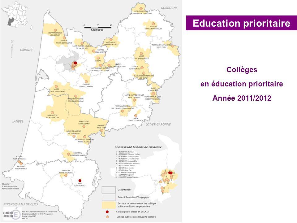 Education prioritaire Collèges en éducation prioritaire Année 2011/2012