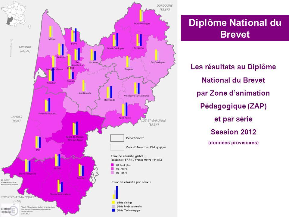 Diplôme National du Brevet Les résultats au Diplôme National du Brevet par Zone danimation Pédagogique (ZAP) et par série Session 2012 (données provis