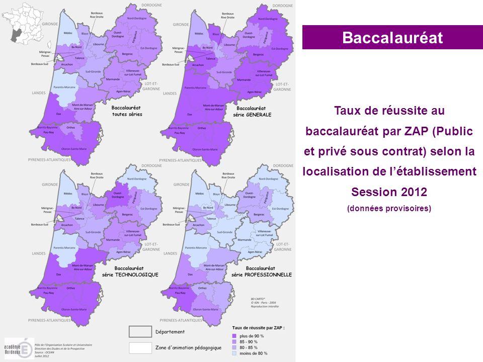 Baccalauréat Taux de réussite au baccalauréat par ZAP (Public et privé sous contrat) selon la localisation de létablissement Session 2012 (données pro