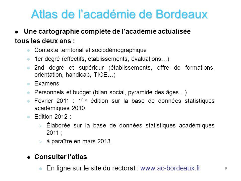 88 Atlas de lacadémie de Bordeaux Une cartographie complète de lacadémie actualisée tous les deux ans : Contexte territorial et sociodémographique 1er