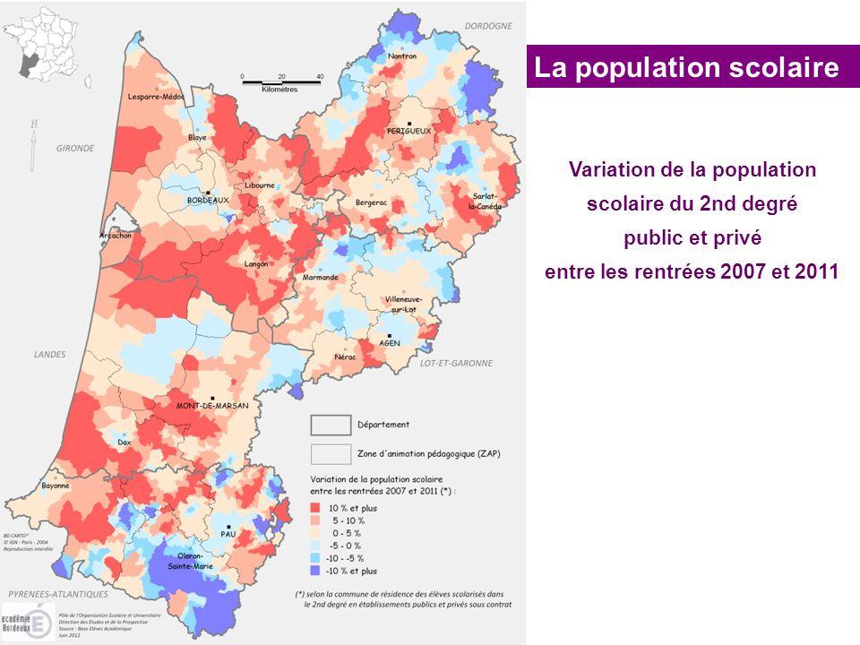 La population scolaire Variation de la population scolaire du 2nd degré public et privé entre les rentrées 2007 et 2011