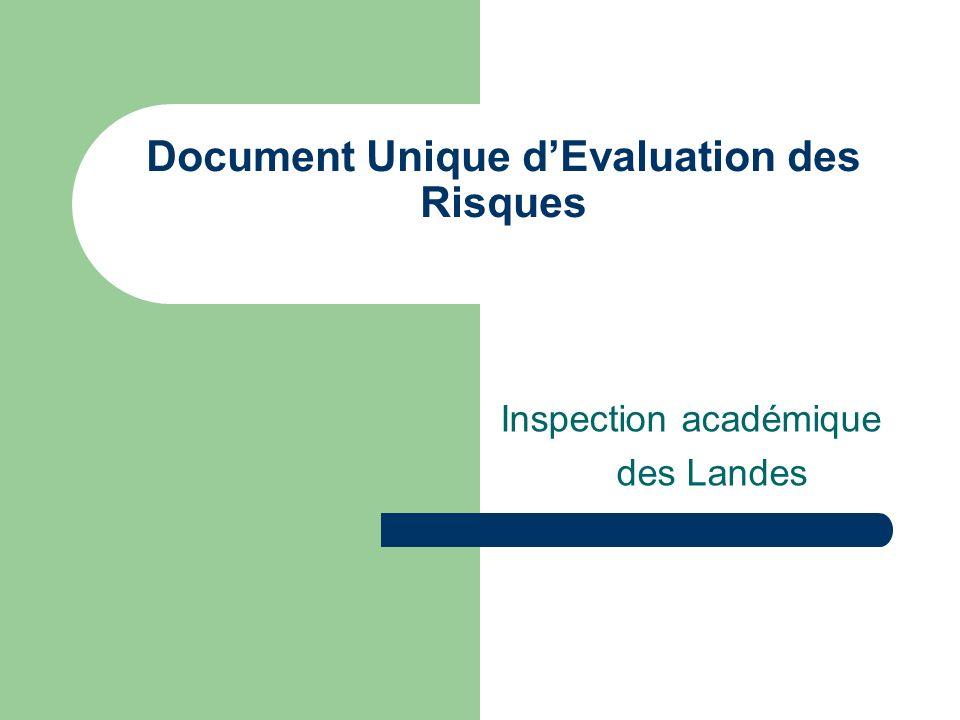 Document Unique dEvaluation des Risques Inspection académique des Landes