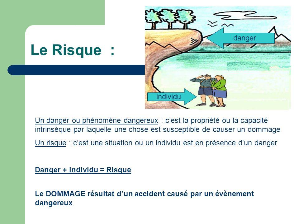 Le Risque : danger Un danger ou phénomène dangereux : cest la propriété ou la capacité intrinsèque par laquelle une chose est susceptible de causer un