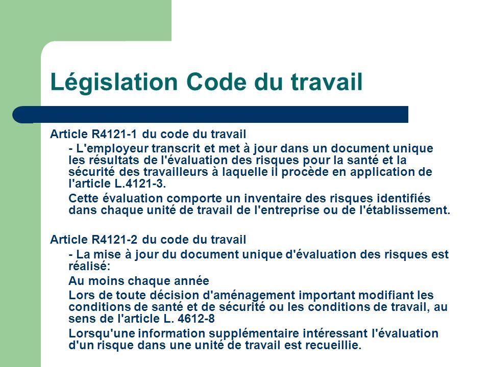 Législation Code du travail Article R4121-1 du code du travail - L'employeur transcrit et met à jour dans un document unique les résultats de l'évalua