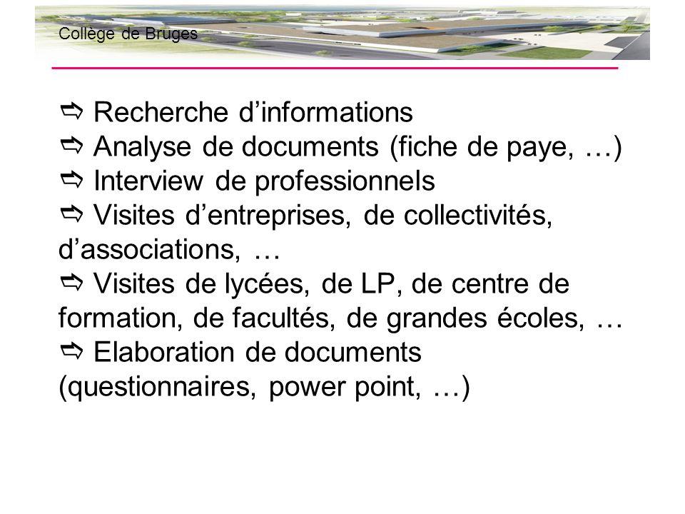 Recherche dinformations Analyse de documents (fiche de paye, …) Interview de professionnels Visites dentreprises, de collectivités, dassociations, … V