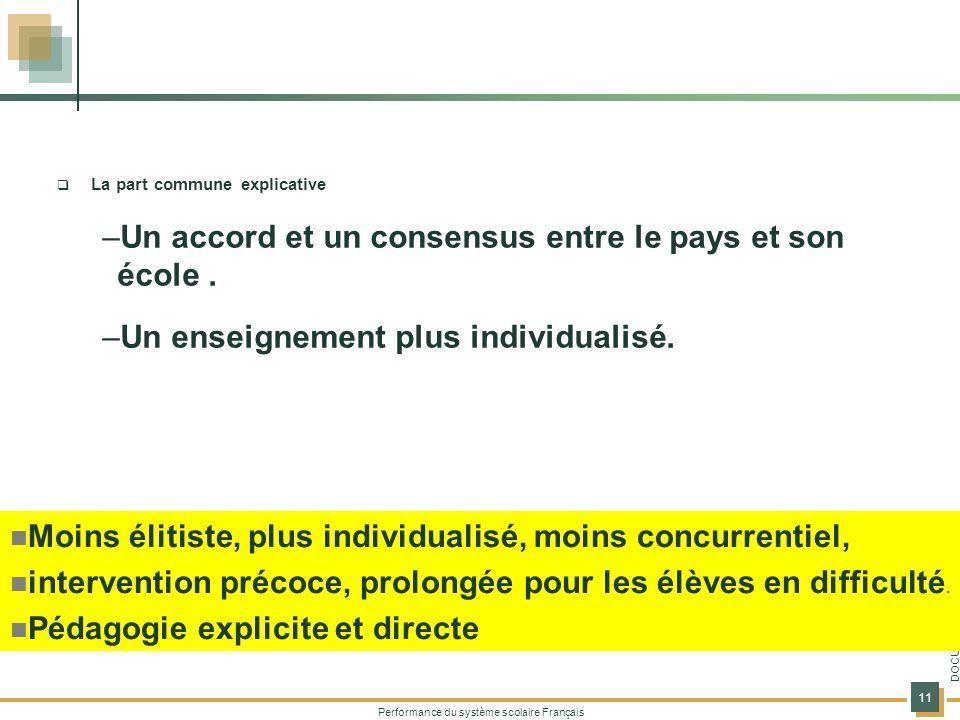 Performance du système scolaire Français 11 DOCUMENT DE TRAVAIL La part commune explicative –Un accord et un consensus entre le pays et son école. –Un