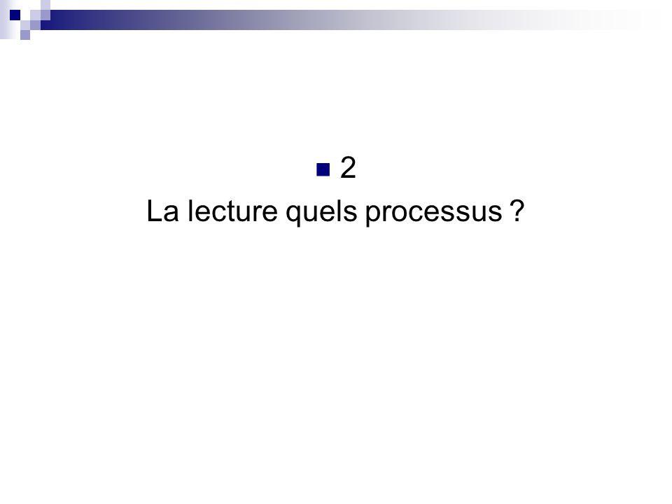 2 La lecture quels processus ?