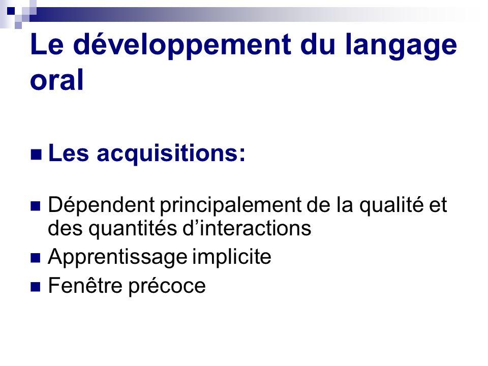 Le développement du langage oral Les acquisitions: Dépendent principalement de la qualité et des quantités dinteractions Apprentissage implicite Fenêt