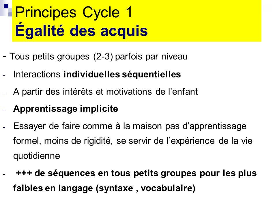 Principes Cycle 1 Égalité des acquis - Tous petits groupes (2-3) parfois par niveau - Interactions individuelles séquentielles - A partir des intérêts