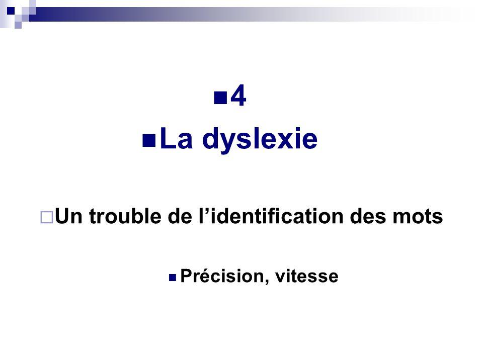 4 La dyslexie Un trouble de lidentification des mots Précision, vitesse