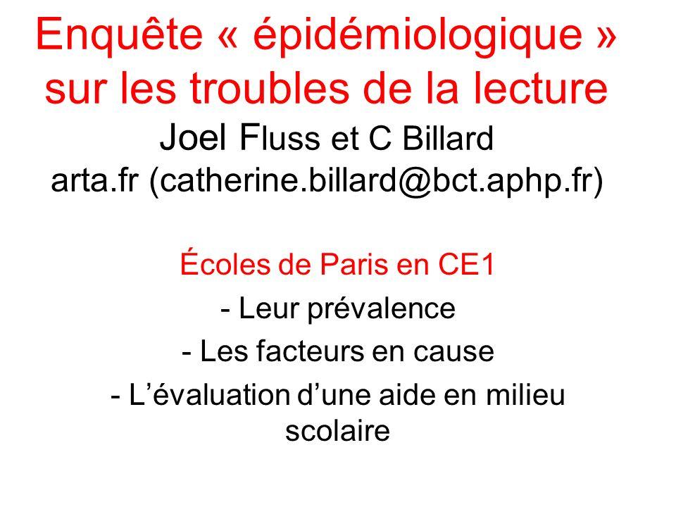 Enquête « épidémiologique » sur les troubles de la lecture Joel F luss et C Billard arta.fr (catherine.billard@bct.aphp.fr) Écoles de Paris en CE1 - L