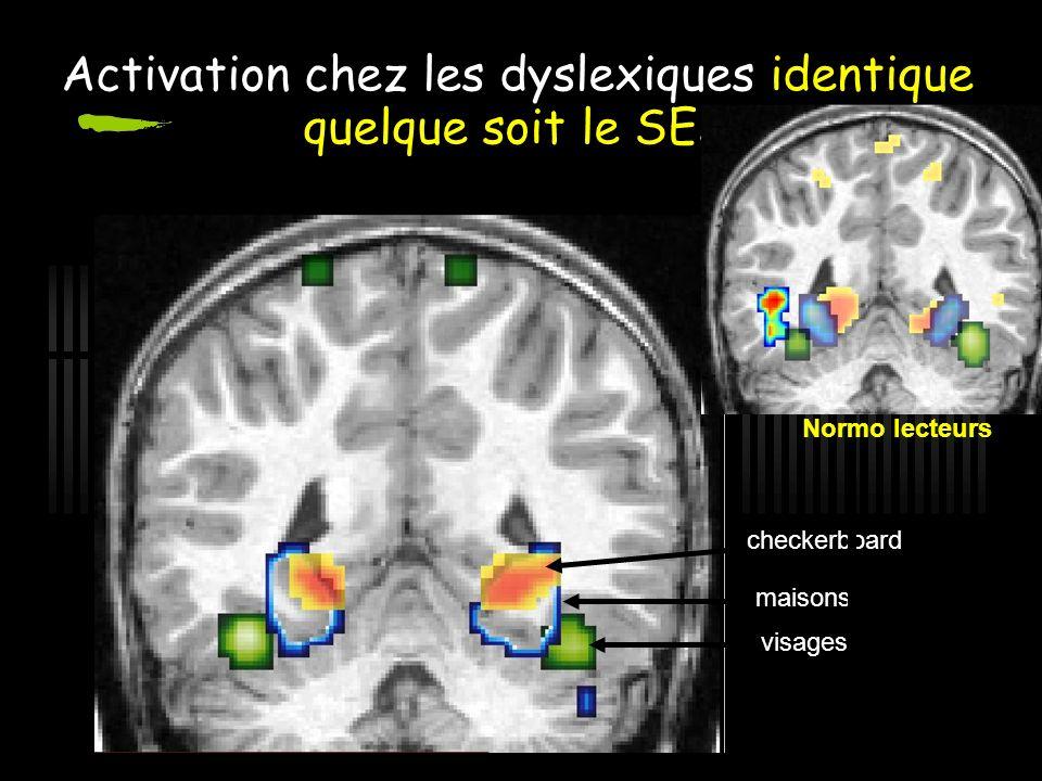 Activation chez les dyslexiques identique quelque soit le SES maisons visages checkerboard Normo lecteurs
