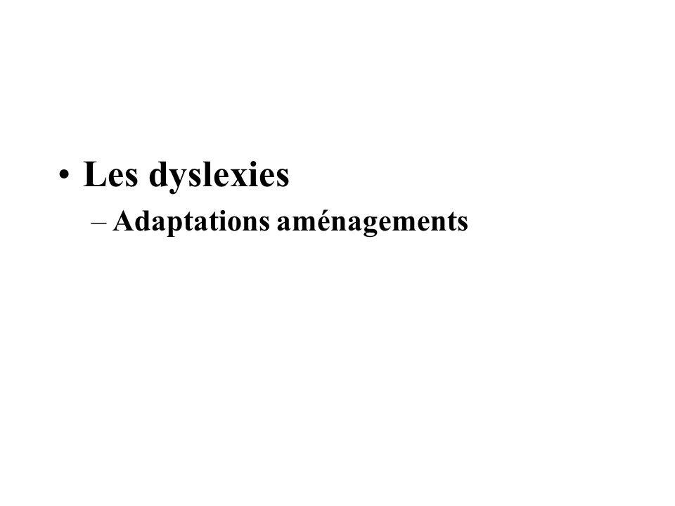 Les dyslexies –Adaptations aménagements