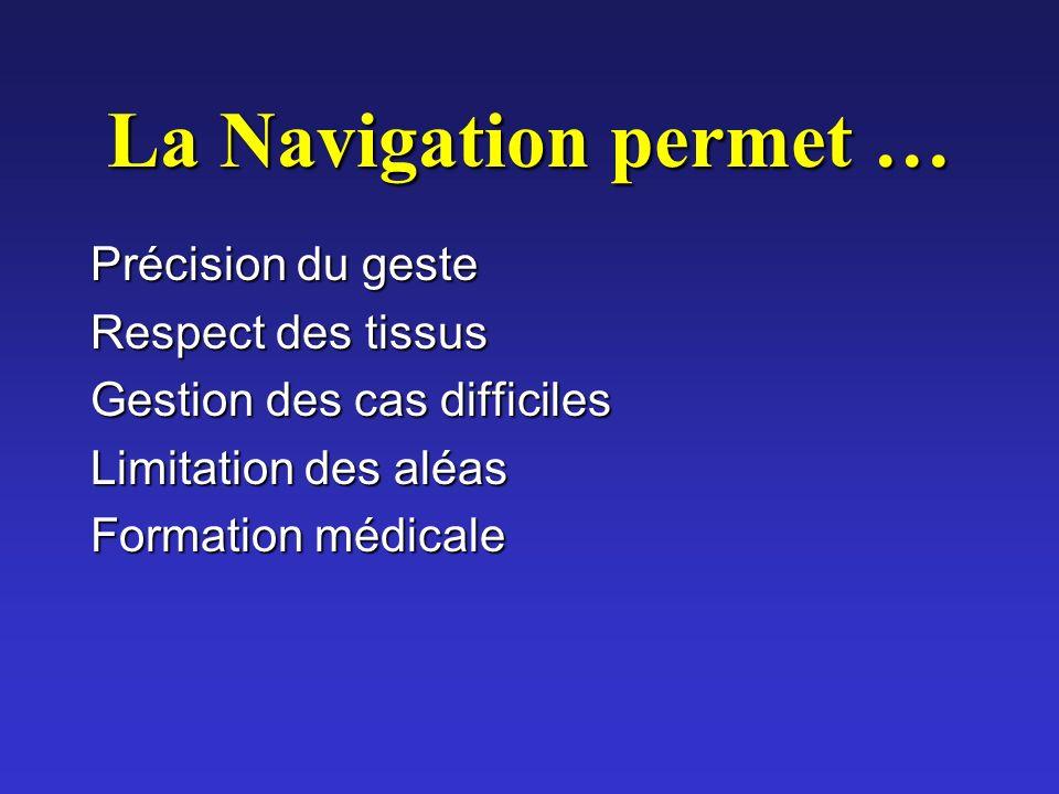 La Navigation permet … Précision du geste Respect des tissus Gestion des cas difficiles Limitation des aléas Formation médicale