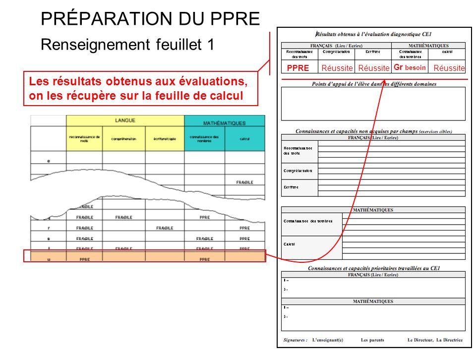 PRÉPARATION DU PPRE Renseignement feuillet 1 Les résultats obtenus aux évaluations, on les récupère sur la feuille de calcul PPRERéussite Gr besoin