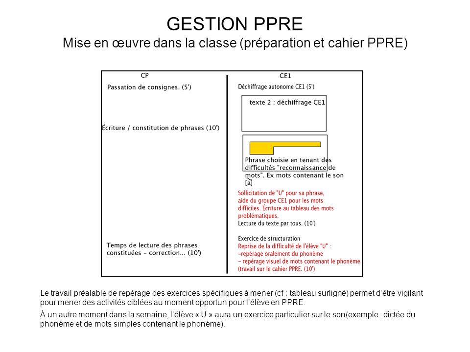 GESTION PPRE Mise en œuvre dans la classe (préparation et cahier PPRE) Le travail préalable de repérage des exercices spécifiques à mener (cf : tablea