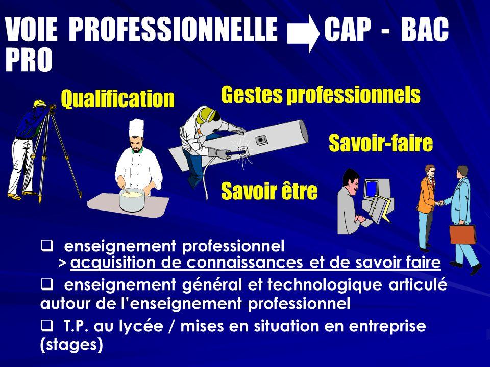 enseignement professionnel > acquisition de connaissances et de savoir faire enseignement général et technologique articulé autour de lenseignement professionnel T.P.