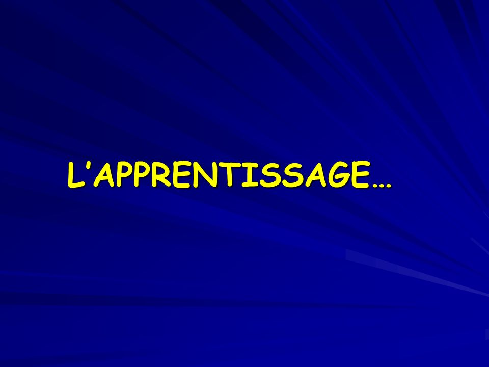 LAPPRENTISSAGE…