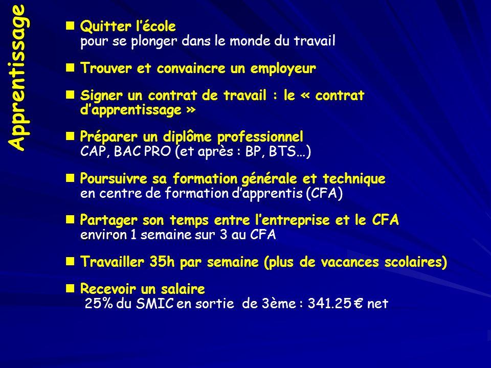 Apprentissage Quitter lécole pour se plonger dans le monde du travail Trouver et convaincre un employeur Signer un contrat de travail : le « contrat dapprentissage » Préparer un diplôme professionnel CAP, BAC PRO (et après : BP, BTS…) Poursuivre sa formation générale et technique en centre de formation dapprentis (CFA) environ Partager son temps entre lentreprise et le CFA environ 1 semaine sur 3 au CFA Travailler 35h par semaine (plus de vacances scolaires) Recevoir un salaire 25% du SMIC en sortie de 3ème : 341.25 net