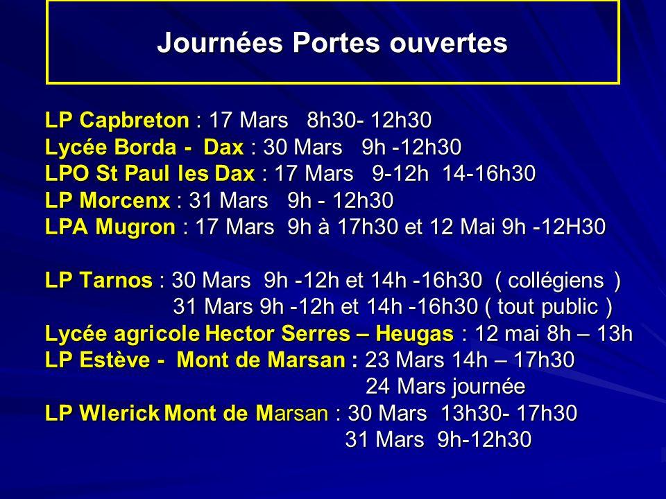 Journées Portes ouvertes LP Capbreton : 17 Mars 8h30- 12h30 Lycée Borda - Dax : 30 Mars 9h -12h30 LPO St Paul les Dax : 17 Mars 9-12h 14-16h30 LP Morcenx : 31 Mars 9h - 12h30 LPA Mugron : 17 Mars 9h à 17h30 et 12 Mai 9h -12H30 LP Tarnos : 30 Mars 9h -12h et 14h -16h30 ( collégiens ) 31 Mars 9h -12h et 14h -16h30 ( tout public ) 31 Mars 9h -12h et 14h -16h30 ( tout public ) Lycée agricole Hector Serres – Heugas : 12 mai 8h – 13h LP Estève - Mont de Marsan : 23 Mars 14h – 17h30 24 Mars journée 24 Mars journée LP Wlerick Mont de Marsan : 30 Mars 13h30- 17h30 31 Mars 9h-12h30 31 Mars 9h-12h30