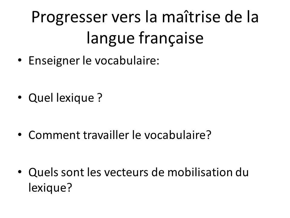 Progresser vers la maîtrise de la langue française Enseigner le vocabulaire: Quel lexique ? Comment travailler le vocabulaire? Quels sont les vecteurs
