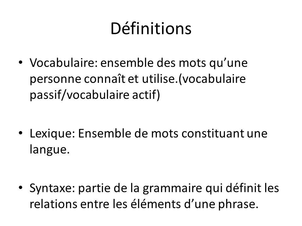 Définitions Vocabulaire: ensemble des mots quune personne connaît et utilise.(vocabulaire passif/vocabulaire actif) Lexique: Ensemble de mots constitu
