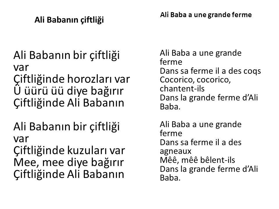 Ali Babanın çiftliği Ali Babanın bir çiftliği var Çiftliğinde horozları var Ü üürü üü diye bağırır Çiftliğinde Ali Babanın Ali Babanın bir çiftliği va