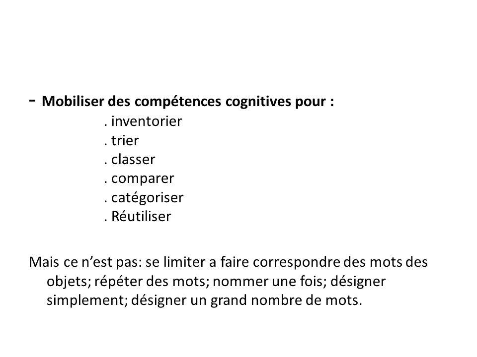 - Mobiliser des compétences cognitives pour :. inventorier. trier. classer. comparer. catégoriser. Réutiliser Mais ce nest pas: se limiter a faire cor