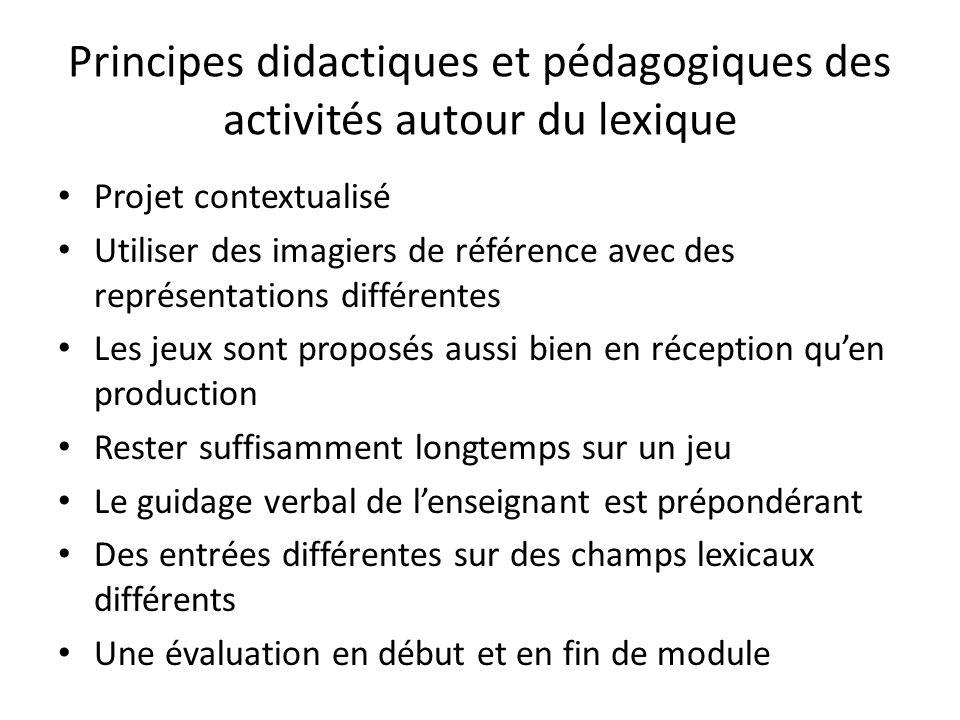Principes didactiques et pédagogiques des activités autour du lexique Projet contextualisé Utiliser des imagiers de référence avec des représentations