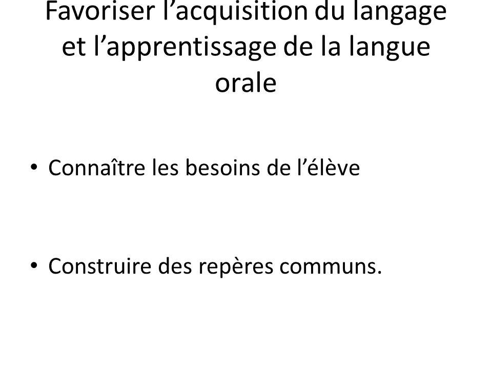 Favoriser lacquisition du langage et lapprentissage de la langue orale Connaître les besoins de lélève Construire des repères communs.