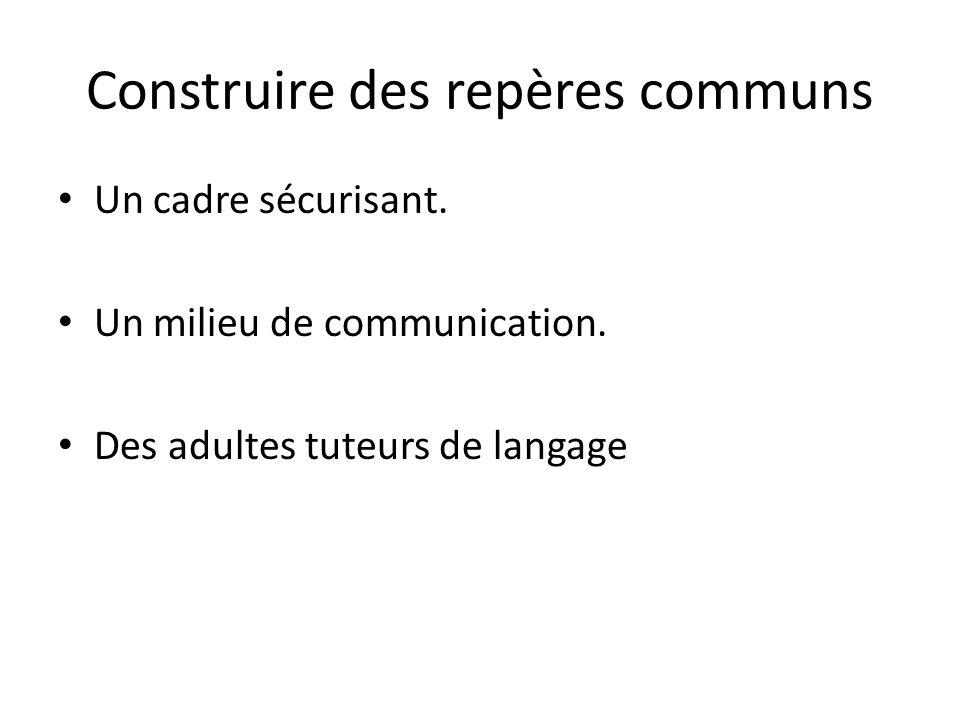 Construire des repères communs Un cadre sécurisant. Un milieu de communication. Des adultes tuteurs de langage
