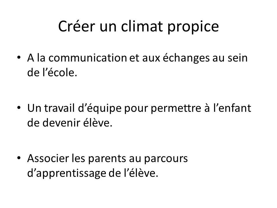 Créer un climat propice A la communication et aux échanges au sein de lécole. Un travail déquipe pour permettre à lenfant de devenir élève. Associer l
