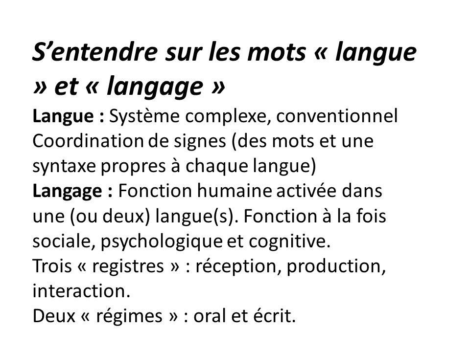 Sentendre sur les mots « langue » et « langage » Langue : Système complexe, conventionnel Coordination de signes (des mots et une syntaxe propres à ch
