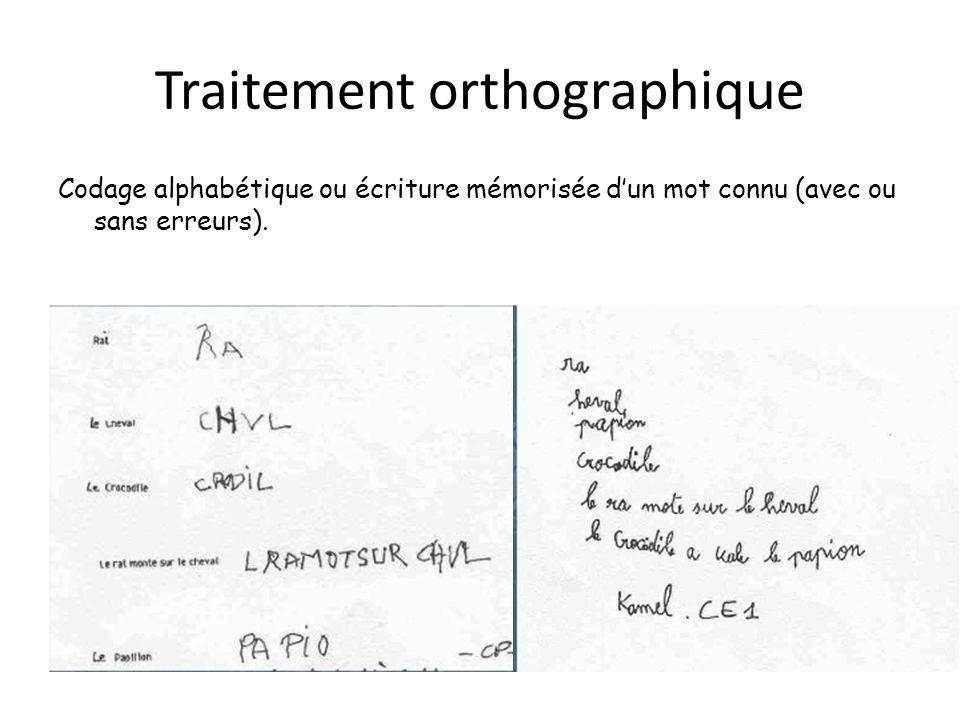 Traitement orthographique Codage alphabétique ou écriture mémorisée dun mot connu (avec ou sans erreurs).