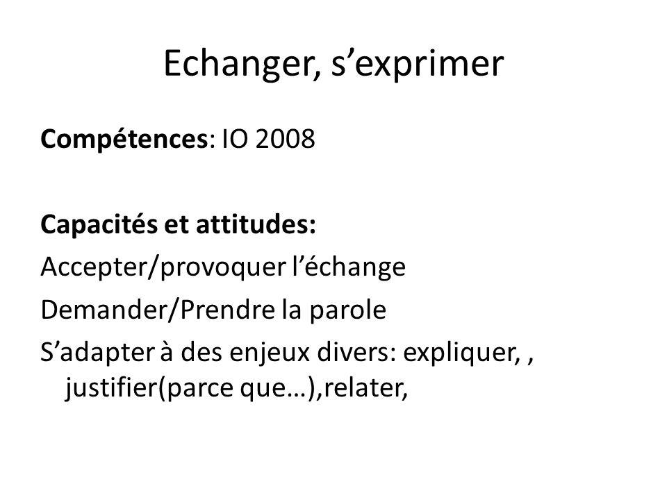 Echanger, sexprimer Compétences: IO 2008 Capacités et attitudes: Accepter/provoquer léchange Demander/Prendre la parole Sadapter à des enjeux divers:
