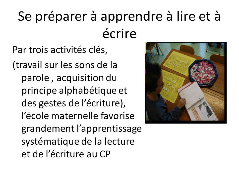 Se préparer à apprendre à lire et à écrire Par trois activités clés, (travail sur les sons de la parole, acquisition du principe alphabétique et des g