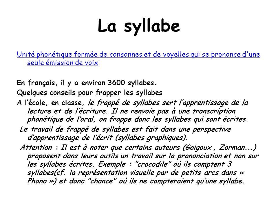 La syllabe Unité phonétique formée de consonnes et de voyelles qui se prononce d'une seule émission de voix En français, il y a environ 3600 syllabes.