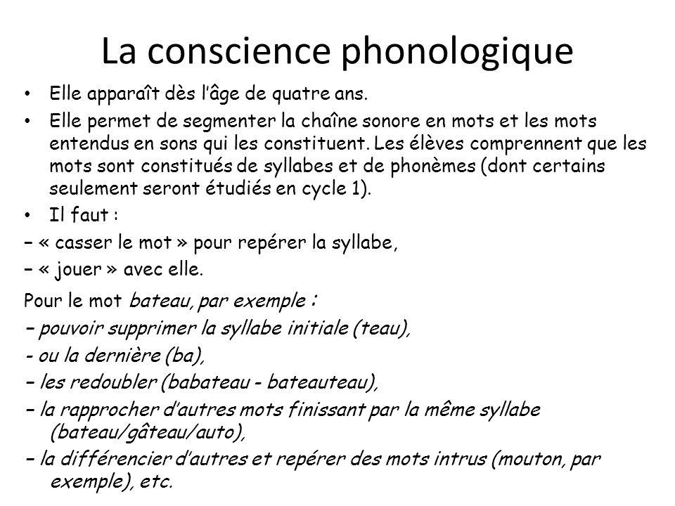 La conscience phonologique Elle apparaît dès lâge de quatre ans. Elle permet de segmenter la chaîne sonore en mots et les mots entendus en sons qui le