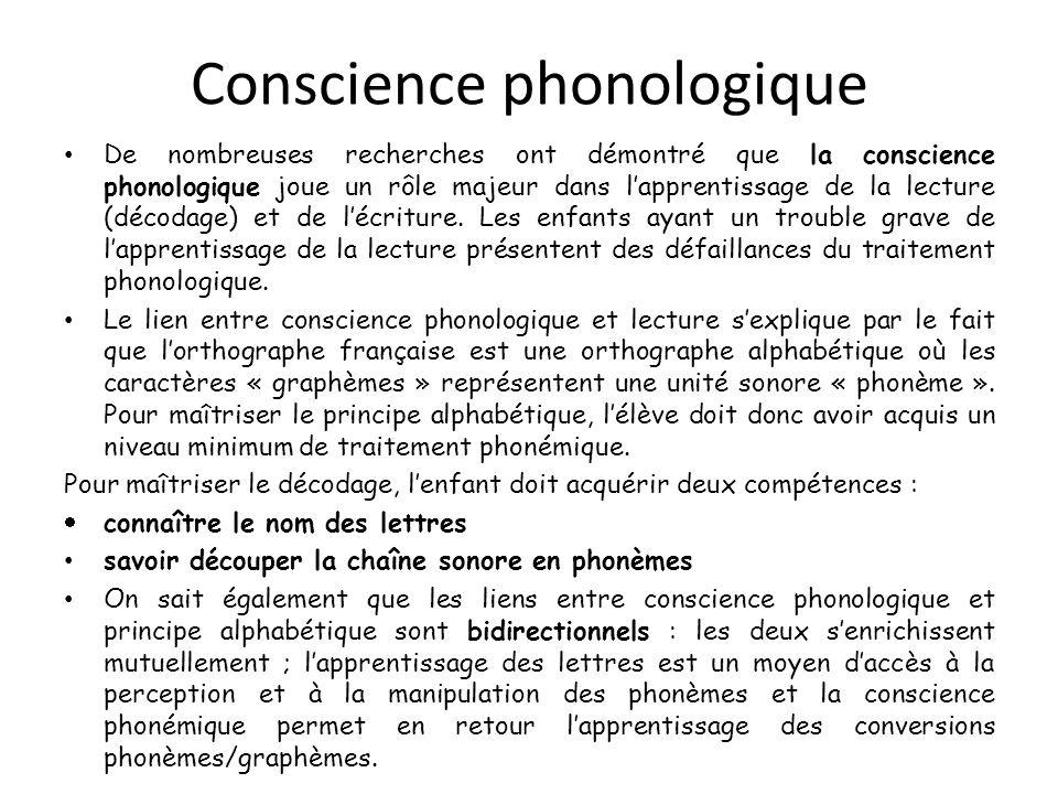 Conscience phonologique De nombreuses recherches ont démontré que la conscience phonologique joue un rôle majeur dans lapprentissage de la lecture (dé