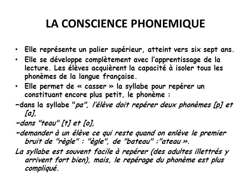 LA CONSCIENCE PHONEMIQUE Elle représente un palier supérieur, atteint vers six sept ans. Elle se développe complètement avec lapprentissage de la lect