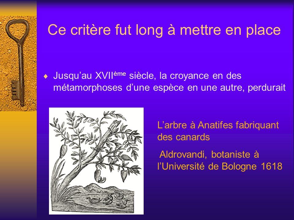 Ce critère fut long à mettre en place Jusquau XVII ème siècle, la croyance en des métamorphoses dune espèce en une autre, perdurait Larbre à Anatifes