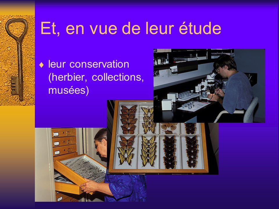 Et, en vue de leur étude leur conservation (herbier, collections, musées)