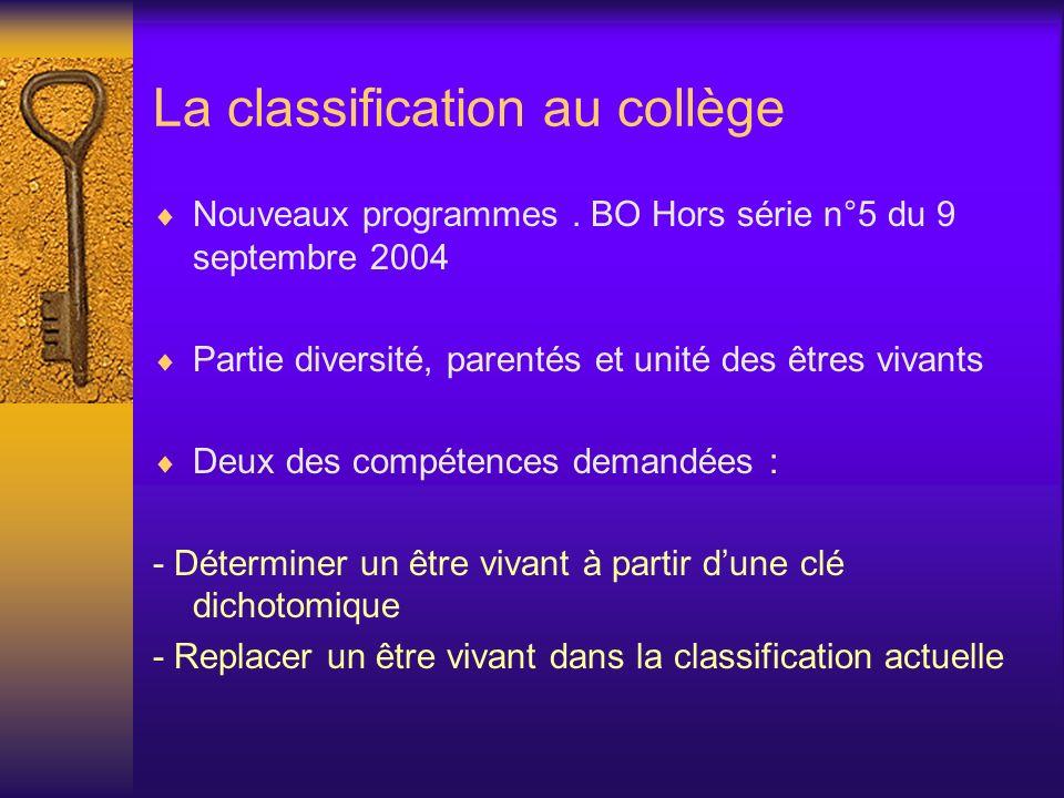 La classification au collège Nouveaux programmes. BO Hors série n°5 du 9 septembre 2004 Partie diversité, parentés et unité des êtres vivants Deux des
