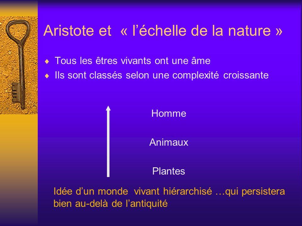 Aristote et « léchelle de la nature » Tous les êtres vivants ont une âme Ils sont classés selon une complexité croissante Homme Animaux Plantes Idée d
